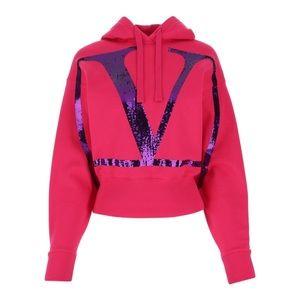 Valentino VLOGO Sequin Embellished hoodie pink